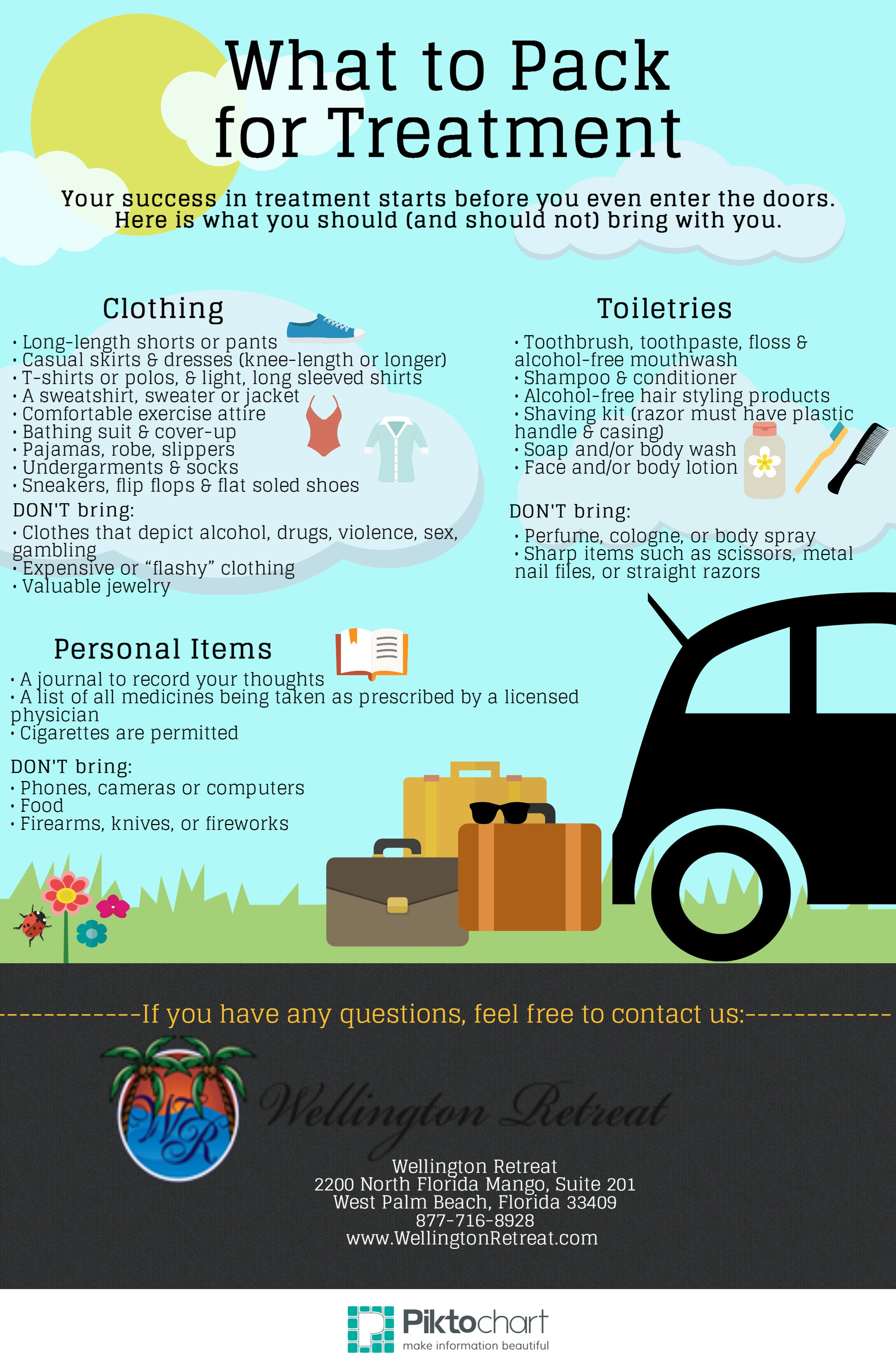 What to Pack for Treatment Infographic