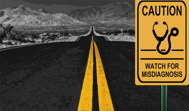 Picture of road with caution sign for misdiagnosis