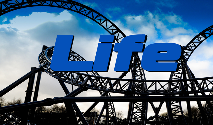 Picture of roller coaster with the word LIFE